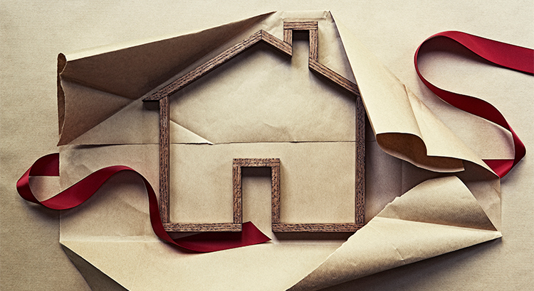 house wrapped in a package